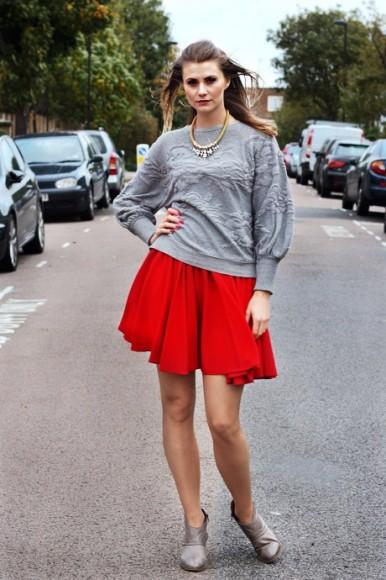 Zara jumper and skater skirt by Reiss