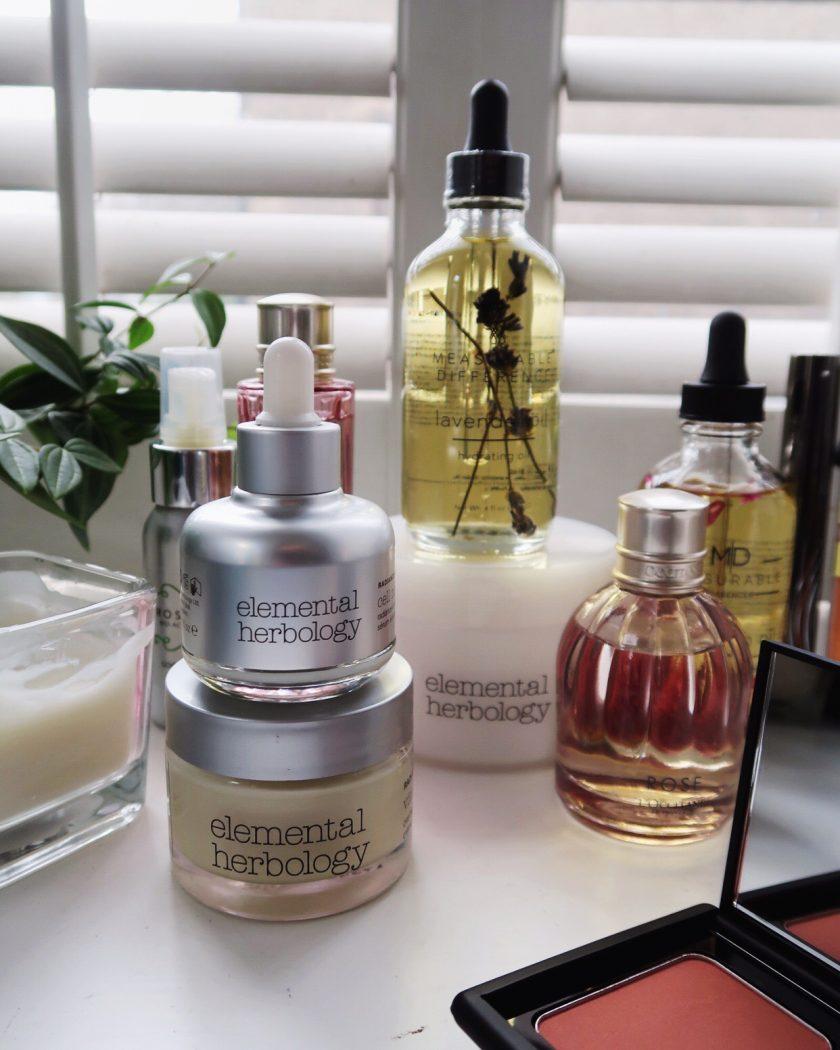 Elemental Herbology natural skincare, dressing table vanities.
