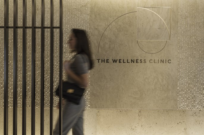 women walking into the wellness clinic at Harrods