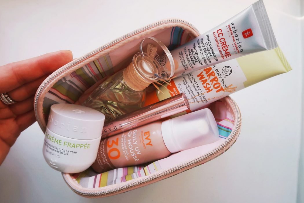 Beauty Edit - Makeup bag with beauty products to keep you fresh doing the summer