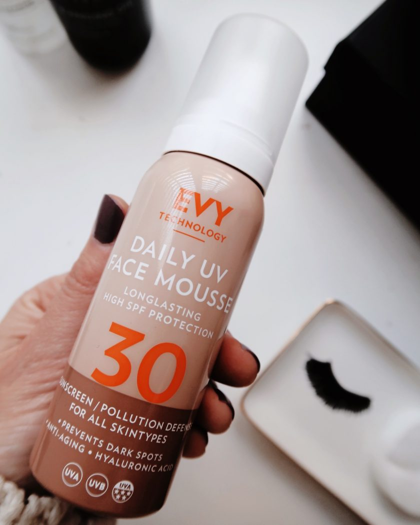 A  bottle of Daily UV protection Mousse from EVY Technology.