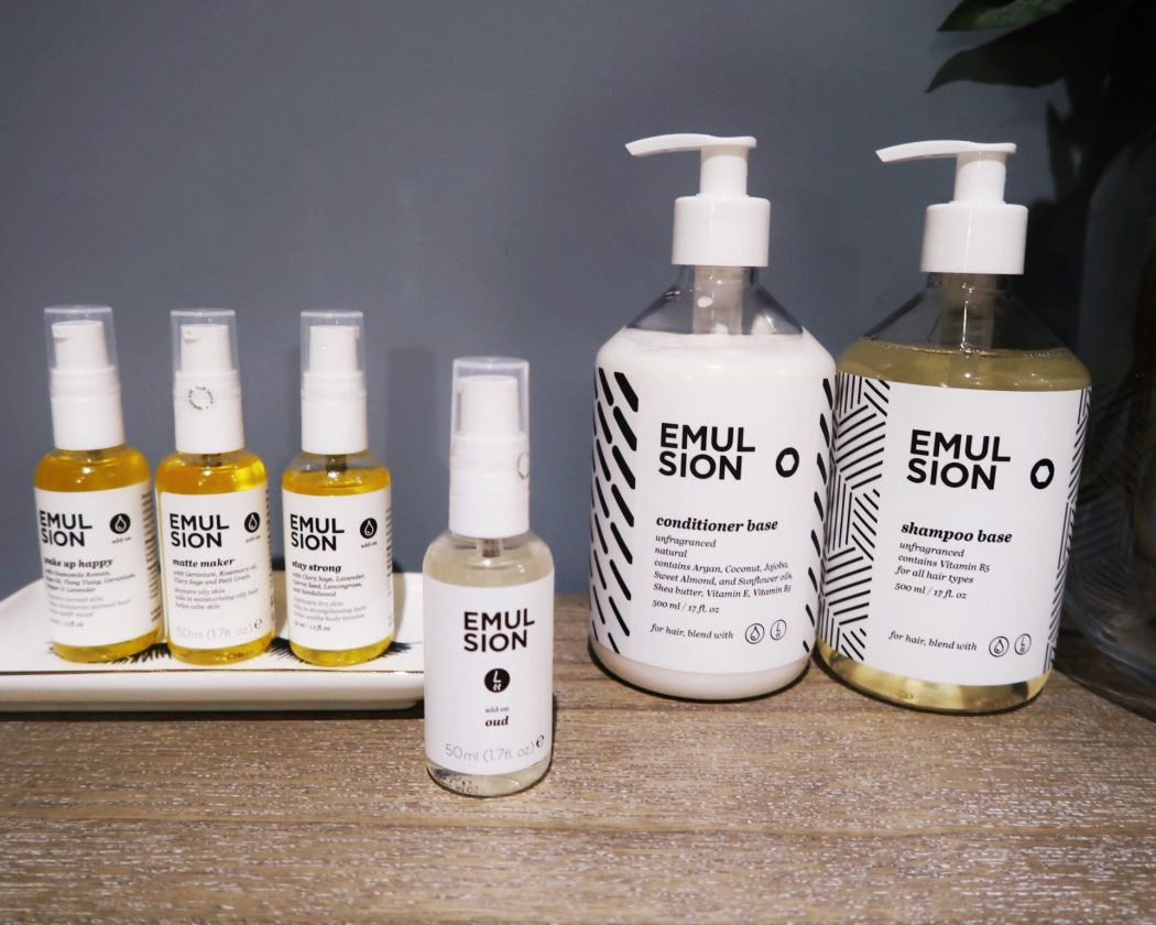 EMULSION, customisable hair care, body and skincare range.